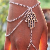 Silver Hamsa Bracelet Finger Ring Slave Chain Hand Harness bohemian boho vintage hippie fashion jewelry