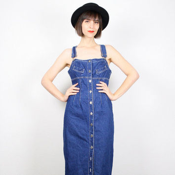 Vintage Dark Denim Dress 90s Dress Maxi Dress Blue Jean Dress 1990s Dress Backless Dress Soft Grunge Dress Bodycon Overalls Dress M Medium