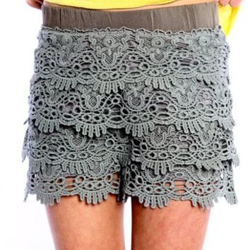 Miss Me GIRLS Olive laced skort
