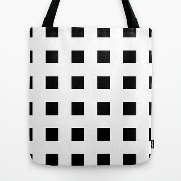 Cross Squares Black & White Tote Bag by BeautifulHomes | Society6