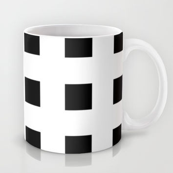 Cross Squares Black & White Mug by BeautifulHomes | Society6