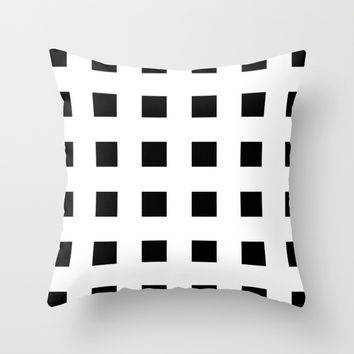Cross Squares Black & White Throw Pillow by BeautifulHomes | Society6
