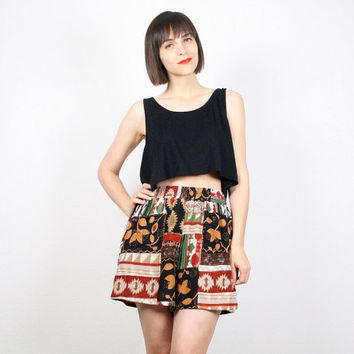 Vintage Boho Shorts 1980s High Waisted Shorts 80s Bohemian Summer Shorts Black Gold Red Green Beige Print Shorts Festival Shorts S Small M