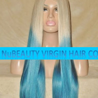 """CUSTOM COLORED Human Hair Wig Full Lace 22"""" Long Silky Straight Ombre Blonde #60 Blue Green"""