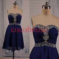 New Dark Royal Blue Beaded Prom Dresses Bridesmaid Dresses Party Dresses Hot Homecoming Dresses Evening Dresses Wedding Party Dresses