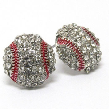 Crystal 'Bling' Baseball Earrings