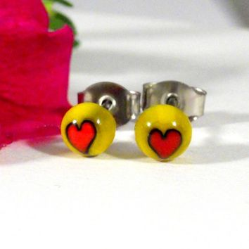 #Yellow and #Red #Heart #Earrings, Surgical Steel #Studs, #Handmade | ResetarGlassArt - #Jewelry on ArtFire