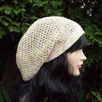 Pale Yellow and Pink Slouch Beanie - Womens Slouchy Crochet Hat - Oversized Slouchy Beanie - Hipster Hat - Baggy Beanie - Cotton Slouchy Hat