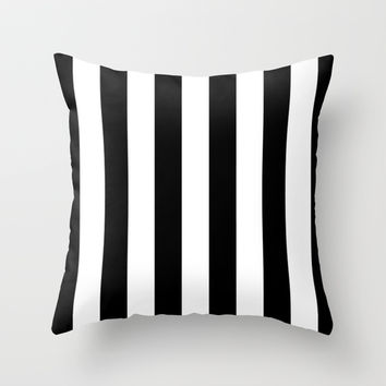 Stripe Black & White Throw Pillow by BeautifulHomes | Society6