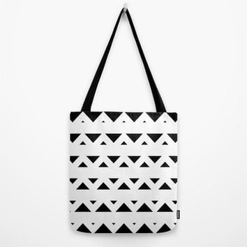 Tribal Triangles Black & White Tote Bag by BeautifulHomes | Society6