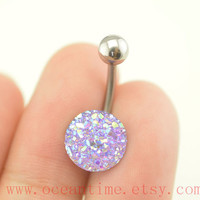 belly ring,sparkling Belly Button Rings, blingbling belly button jewelry,purple Navel Jewelry,friendship bellyring