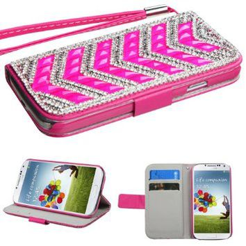 For SAMSUNG Galaxy S4/IV Clear/Hot Pink Crystal V-Arrow ID/Wallet Phone Pouch