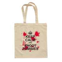 "Killer ""Keep Calm and Shoot Zombies"" Design on Natural Canvas Tote"