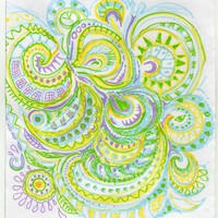 A delicate original folk art pattern in pen ink and pencil | Linandara - Drawing on ArtFire