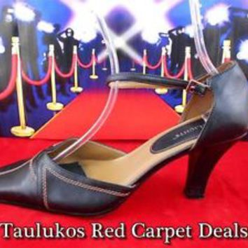 Womens shoes HIGHLIGHTS Stiletto High Heel Pumps Black LEATHER Ankle strap 11 W