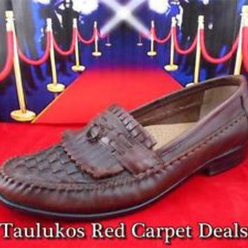 Mens shoes GIORGIO BRUTINI Leather Loafers BROWN Brogue Kiltie Moccasins 8.5 M