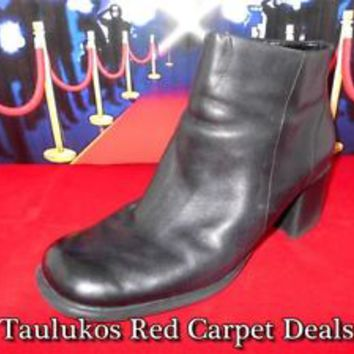 Womens shoes BASS Black LEATHER Chunky High Heel Pumps Ankle Boots zipper sz 8 M