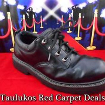 Mens shoe SKECHERS COOL CAT Punk Goth Metal Oxford Black LEATHER Dress sz 7.5 M