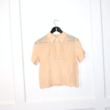 1940s silk blouse / 40s peach t shirt