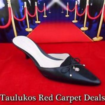 Womens shoes ANN TAYLOR Mules Heel Slides Black Leather Suede Pointy Toe 6.5 M