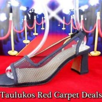 Womens shoes ANN MARINO Textile Mesh High Chunky Heel Slingbacks Open Toe 8.5 M