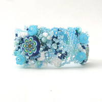 Summer Blue beaded jewelry, Seed bead bracelet, Beadwork bracelet, Freeform peyote bracelet, light Blue, blue bracelet, blue floral