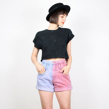 Vintage High Waisted Shorts Denim Shorts Jean Shorts Pink Blue DIY Dip Dyed Star Studded Shorts 1980s 80s Custom Upcycled Shorts M Medium S