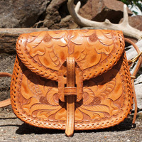 Small Tan Tooled Leather Purse