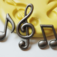 0237-Music Notes Silicone Rubber Food Grade Flexible Mold-wax, soap, candy, resin, fondant, cake decorating, clay, jewelry