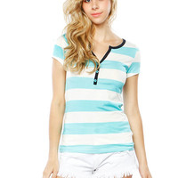 Papaya Clothing Online :: FRONT BUTTON STRIPE TOP