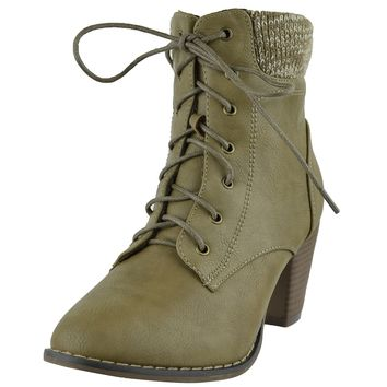 Womens Knitted Collar Ankle Boots Lace Up High Heel Booties Beige Size 5.5-10