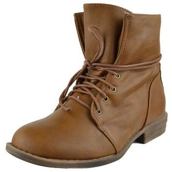 Womens Faux Leather Ankle Boots Fur Lining Simple Lace Up Shoes Cognac Size 5.5-10