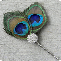 Peacock feather hair piece fascinator with by AddisonRenee on Etsy