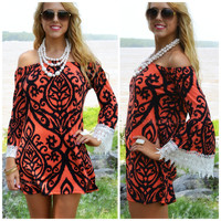 Huntridge Coral Scroll Print Dress