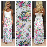 Garden Of Eden Crochet Top Maxi Dress - IVORY
