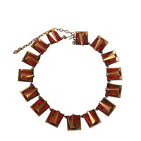 "Vintage 1950s Necklace Matisse Renoir ""Chili"" Square Linked Design- Red with Black Speckled Enamel and Copper"