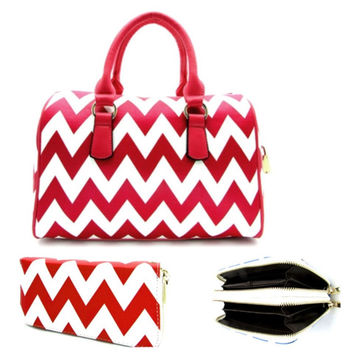 Thick Faux Leather Red/White Chevron Purse Wallet Combo