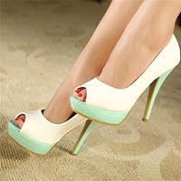 MagicPieces Women's PU Mixed Color Peep Toe High Heels 040714 ADP 0705 Color Green US 5