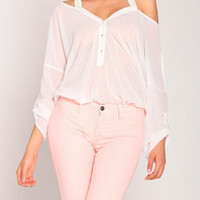 Halter Chiffon Leotard Blouse in White