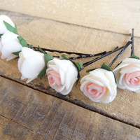 Ivory Pink Rose Wedding Hair Pins, Ivory Bridal Hair Pins, Hair Accessories, Bridesmaid Hair, Woodland - Set of 6