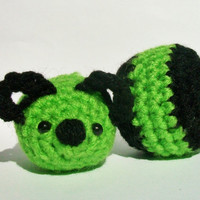 Organic Catnip mouse/ stuffed crochet mice and plush ball in bright green and black