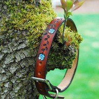 Leather Dog Collar, Painted Flower Vine dyed Medium Brown