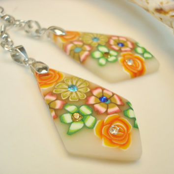 Orange Floral Earrings, Summer Jewelry