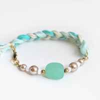 Mint bracelet, mint sea glass bracelet, braid bracelet with sea glass bead, boho bracelet