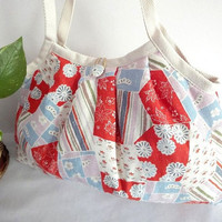Japanese Kimono Pattern Granny bag purse flowers red by MofLeema