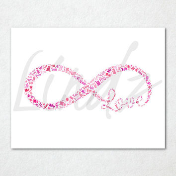 You Me Infinity Love Pink White Word Cloud Print - Printable Art - 8 x 10 And 11 x 14 Files Included - Pink And White Print - Infinity Print