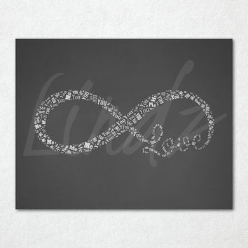 You Me Infinity Love Gray Chalkboard Word Cloud Print - Printable Art - 8 x 10 And 11 x 14 Files Included - Gray Chalkboard - Infinity Print