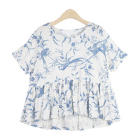 Bluebird Print Frill Shirred Top
