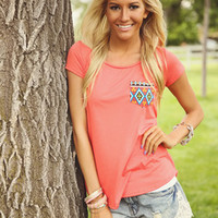 Peachy Aztec Pocket Tee