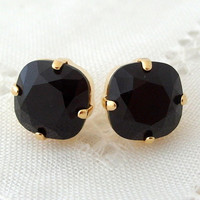 Black stud earrings, Black crystal Swarovski rhinestones stud earrings, Bridesmaids gift, Bridal earrings, 14k Gold earrings